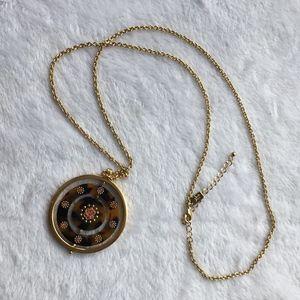 Kate Spade Round Gold Tortoise Shell Long Pendant
